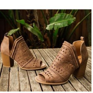 Shoes - 🆕 Taupe Vegan Leather Open toe Bootie ❤️